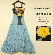 Fashion 16 high-end runway style tiger embroidery spaghetti strap dress S M L