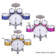 586-104 Drum Set 5 Drums Kids Musical Toy with Drum Sticks Cymbal Y9Q0