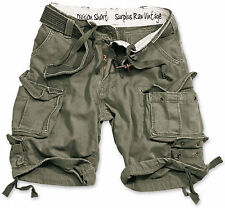 SURPLUS DIVISION SHORTS MILITARY ARMY VINTAGE CARGO COMBAT + BELT OLIVE GREEN