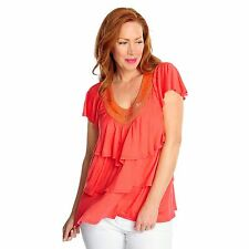 Glitterscape Stretch Knit Flutter Sleeve Beaded Neck Three-Tiered Top