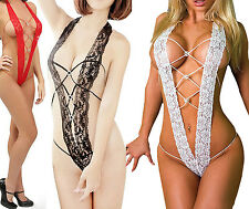 Women Sexy Underwear Lace Dress Halterneck Stripper Open Bra Crotch Nightwear T1