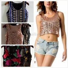 Fashion Women Sequin Glitter Camisole Spangle Crop Tops Tank Top Vest T-Shirt