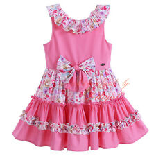 Girls Summer Party Skater Dress Princess Pageant Floral Bow Cotton Age 2-12 Year