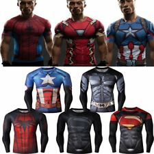 Marvel Super Hero Tee T-shirt Long Sleeve Compression Sport 3D Men's Clothing