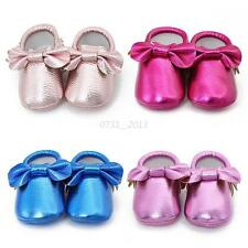 Cute Bow Baby Girls Toddler Soft Sole Crib Shoes Infant PU Leather Moccasins