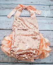 Baby Peach Sequin Romper- Peach Ruffle Romper- Sequin First Birthday Outfit