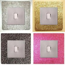 METALLIC GLITTER LIGHT SWITCH SURROUNDS /PLATES + COVERS, EASY-FIT SELF ADHESIVE