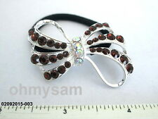 1 NEW SILVER TONE METAL BOW DES / MULTICOLOR STONE ON ELASTIC HAIR TIE PONYTAIL