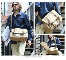 mens messenger shoulder canvas bag Military School Office sport leather briefcas