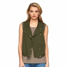 NEW! Juicy Couture Olive Green Casual Vest - Unique Moto design - NWT