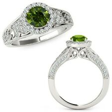 1.25 Carat Green Diamond Beautiful Design Halo Wedding Band Ring 14K White Gold
