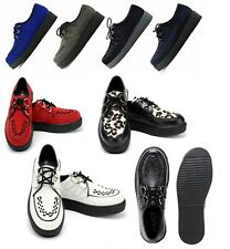 MENS FLAT BLACK PLATFORM TEDDY BOY LACE UP GOTH PUNK CREEPERS SHOES BOOTS SIZE