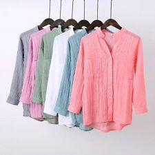 Womens Summer Solid 3/4 Sleeve Button Down Shirt Blouse Tops 6 Colors 5 Size