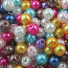 Wholesale Mixed color Glass Pearl Round Spacer Loose Spacer charms Beads 4-8mm