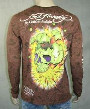 ED Hardy Men's Exploding Skull  Tiger T Shirt Brown
