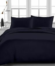 100% Egyptian Cotton 4'PCs Soft Bed Sheet Set Black Solid 1200-Thread Count