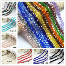 30PCS 6*8MM AB Multicolor Crystal Faceted Gems Loose Beads AA01