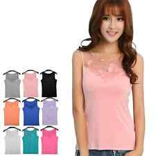 New Women Lady Sexy Lace Collar Sleeveless Tank Cami Top T-Shirt Vest Blouse