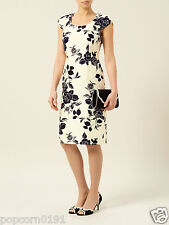 New JACQUES VERT Dress shift Cream & Black Floral Print Tags Wedding rrp £149