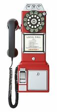Retro Wall Payphone 1950 Rotary Push Button Corded Coin Bank Telephone Vintage