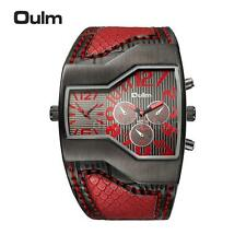 OULM Russian Army Military Dual Time Mens Sports Quartz Leather Wrist Watch S7Z3