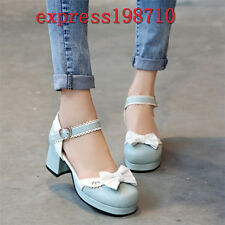Women Lolita Bowknot Ankle Strap Mid Block Heels Mary Janes Cute Cosplay Shoes