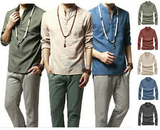 Spring Autumn Mens Casual Shirts Stand Collar Loose Long Sleeve Linen T Shirts