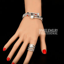 Luxury Multilayers Pearl Bangle And Ring Set For Women 18K White Gold Gp Tz254
