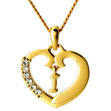 Heart Letter I Initial Name Necklace 18k Gold Plated Jewelry Birthday Gifts