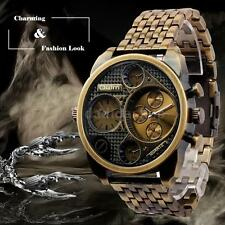 OULM Army Military Dual Time Alloy Strap Men Quartz Wristwatch W/ Sub-dials E8O7