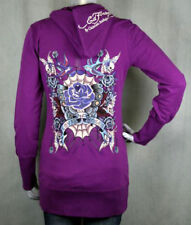Ed Hardy Tunic Hoodie Purple Butterfly LOVE & ROSES NEW