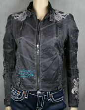 Ed HARDY Womens TIGER embroidered Jacket skull NEW