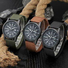 Men's Military Stainless Steel Date Canvas Analog Sport Army Quartz Wrist Watch