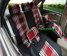 6 Colors for Mazda Car Seat Covers Scotland Grid Pattern Flax Fabric +2 Pillows