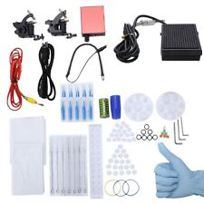 Pro Complete Top Tattoo Kit 2 Machine Guns Power Supply Needles Grips Tips