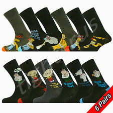 6 PAIRS MENS OFFICIAL LICENSED THE SIMPSONS & FAMILY GUY SOCKS UK SIZE 6-11