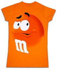 Juniors Womens M&M's Chocolate Candy Silly Character Face Orange T-Shirt Tee
