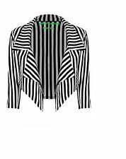 Ladies Womens Black & White Striped Cropped Waterfall Coat Casual Jacket Blazer.