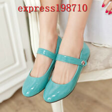 Womens Sweet Color Mary Jane Patent Leather Ankle Strap Flats Dance Shoes Plus