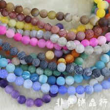 10mm Round Dragon Veins Agate Beads Loose Gemstone Beads for Jewelry Making 15""