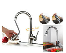 Brass Kitchen Sink Faucet Hot Cold Mixer Tap Basin Sink Pull Out Spout Sprayer