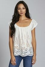 Sassy Sexy White Eyelet BOHO Bohemian Gypsy Hippie Embroidered Peasant Top NWT