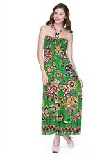 BOHO Bohemian Festival Hawaiian Green Paisley Luau Maxi Beaded Halter Dress NWT