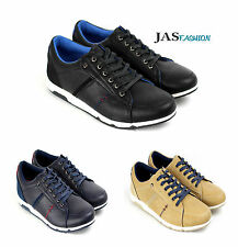 Mens Lace Up Shoes Casual Running Trainers Leather Look Designer Gym New Size