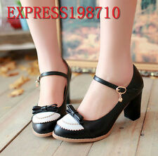 Sweet Womens Bowknot Fashion Mary Jane Buckle Pumps Mid Block Heels Cute Shoes