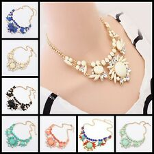 Women Fashion Flower Crystal Statement Bib Pendant Chunky Chain Choker Necklace