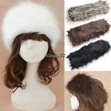 Women Wide Russian Winter Warm Ear Muff Faux Fur Headband Hat Ski Cap EA77