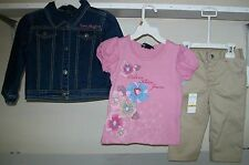 NWT LIL GIRLS CALVIN KLEIN 3PC OUTFIT PANTS TOP & JACKET PICK SIZE