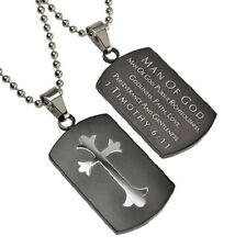 Christian Dog Tag, Man Of God, 1 Timothy, Stainless Steel Chain, Black Pendant
