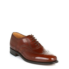 Loake Mens Brown 202T Brogue Leather Shoes Lace Up Smarts Formal Dress Low 202T